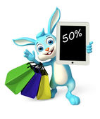 Easter Bunny With Tab And Shopping Bag — Stock Photo