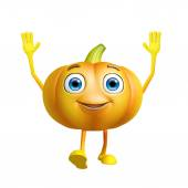 Pumpkin character with saying hi pose — Stock Photo