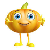 Pumpkin character with pointing pose — Stock Photo