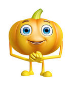 Pumpkin character with promise pose — Stock Photo