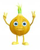 Onion character with win pose — Stock Photo