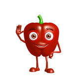 capsicum character with saying hi pose — Stock Photo