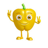 capsicum character with win pose — Stock Photo
