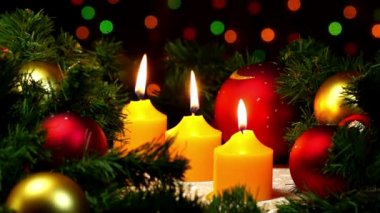 Christmas and New Year decoration - candle, balls — Wideo stockowe