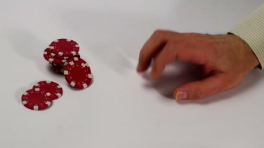 Poker chips fall in origami paper box — Stock Video
