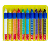 Ten colored wax crayons isolated over white — Φωτογραφία Αρχείου