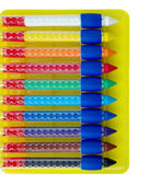 Ten colored wax crayons isolated over white — Stok fotoğraf