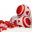Christmas background with balls and red garlande in snow on white — Stock Photo #59588297