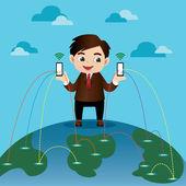 Business man on Social Network — Stock Vector