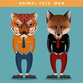 Animal Face Man — Stock Vector