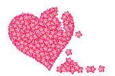 Çiçek kırmızı kalp pettern — Stok fotoğraf