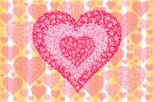 Pink flower a heart shape on yellow background — Stock Photo