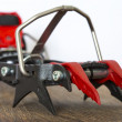 Professional ice climbing crampons close up image — Stockfoto #59862347
