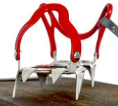 Grey alpine climbing crampons close up image — Stock Photo
