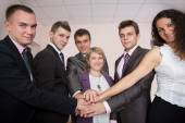 Friendly harmonious business team — Stock Photo