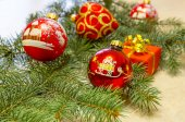 Christmas composition with tree, gift box and ornament — Stock Photo