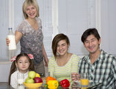 Breakfast of multiethnic family — Stock Photo