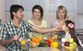 Breakfast of multiethnic family — Photo