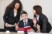 Group of business people discuss working schedule — Stock Photo