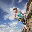 Female rock climber hanging over the abyss — Stock Photo #63569855