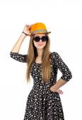 Stylish lady in orange hat — Stock Photo