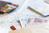 Desk of frequent traveler - angle view — Stock Photo