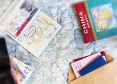 Desk of frequent traveler — Stock Photo