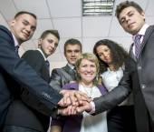 Friendly harmonious business team — Stock Photo