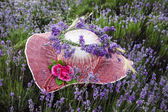 Female hat decorated with lavender flowers — Stock Photo