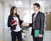 Young business people having discussion — Stock Photo