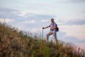 Female hiker walks along the ridge — Stock Photo