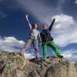 Group of two happy female climbers  celebrates the victory — Stock Photo #72118985