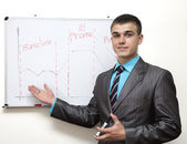 Young businessman makes presentation — Stock Photo