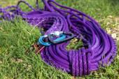 Purple climbing rope on green grass — Stock Photo