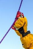 Alpine ascending devise in use — Foto de Stock