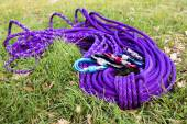 Purple climbing rope on green grass — Stock Photo