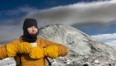 Female high altitude alpine climber — Stock Photo