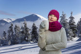 Polar lady drinks coffee — Stockfoto