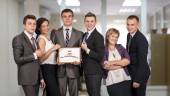 Winning corporate business team — Stock Photo