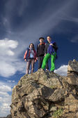 Group of climbers on the cliff — Stock Photo