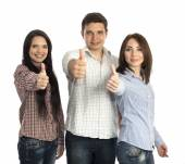 Group of young people makes OK gesture — Stock Photo
