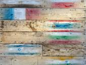 Wood wall warm brown texture background with flags — Stock Photo
