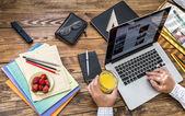 Digital subscription on rough wooden desk concept — Stock Photo