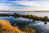 Suburban East European waterfront landscape — Stock Photo