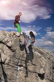 Climbers teamwork — Stock Photo