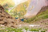 Mountain lake view in Fan Mountains of Tajikistan — Stock Photo