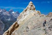 Razor sharp summit and climbers — Stock Photo