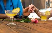 Romantic scene flower on foreground — Stock Photo
