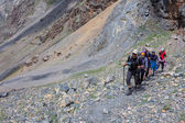 Group of Climbers Hard Walk — Stock Photo