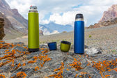 Two travel thermoses on stone — Stock Photo